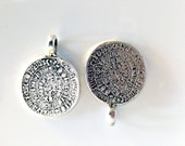7 Psc Greek Phaistos Disc Metal Charms, DIY projects, Steampunk, Round Silver Charms, Jewelry Making Supplies, Handmade Crafts