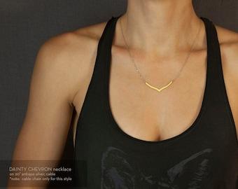 DAINTY CHEVRON Necklace // Brass Chevron Arrow Necklace // Simple Brass Necklace // Tribal Inspired Necklace