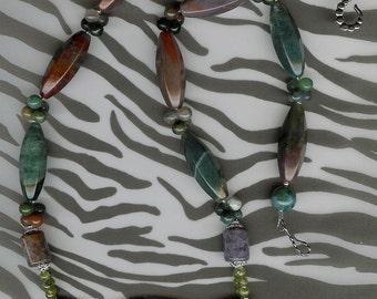 On Safari- Carved Ribbon Jasper Elephant, Fancy Jasper, Prehnite, Sterling Silver Necklace