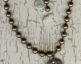 Just a Fool- Banded Agate Pendant, Pyrite, Carnelian, Sterling Silver Necklace