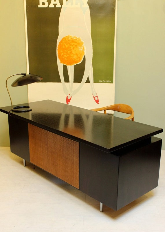 George Nelson Executive Desk Mid Century Modern Walnut Office