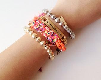 merryme Spring Summer Beach Stacking Fun Bracelet. Tribal Bracelet . Friendship Bracelets .Stacking Bracelets. Bracelet Sets. Yellow