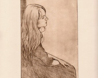 Girl Sitting Portrait Drypoint Etching Print Limited Edition