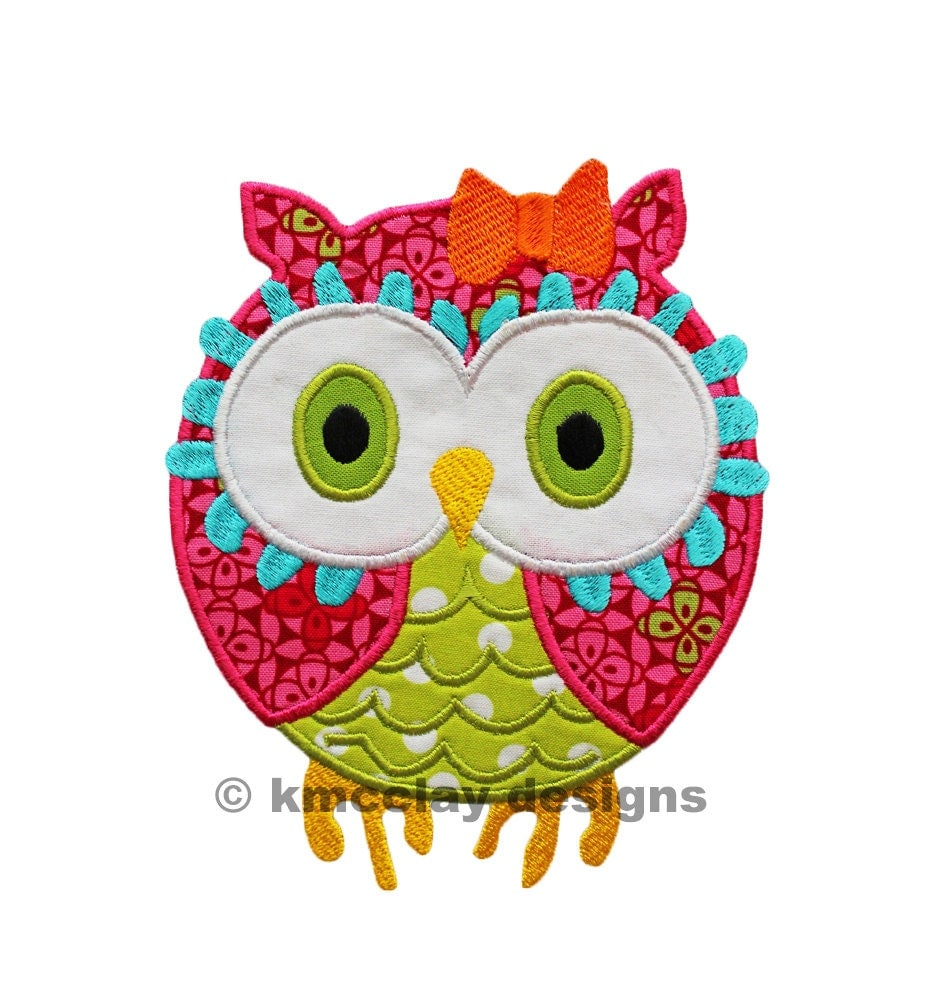 Owl applique machine embroidery design instant