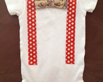 Sock Monkey Bow Tie Baby Onesie - Snap-on Bow Tie