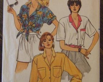 Butterick 3242 Size 8-10-12 Shirt Blouse Pattern UNCUT 1985