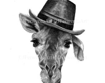 Pencil drawing print - Magic Hat - Day 154 - Giraffe
