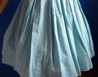 Summer 1950s 1960s Blue Houndstooth Pattern Skirt