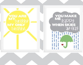 "Printable 8x10 Prints ""You Are My Sunshine"" Quote & Graphics"