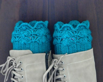 BOOT CUFFS Socks  Leg Warmers Buckle Boot Socks Choose COLOR Teal Blue Nature Knit Gift under 50