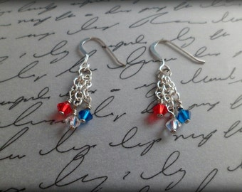 Red, White and Blue Crystal - Dangle Earrings