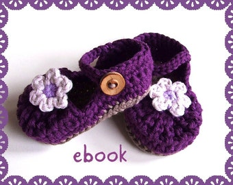 Instant Download - Crochet Pattern - Baby Mary Janes Purple - PDF ebook No. 8
