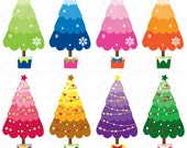 Christmas ClipArt,Christmas Tree clip art,Colorful Christmas Tree,Cm013perfect for Scrapbook,Cards,Invitations,Personal and Commercial Use