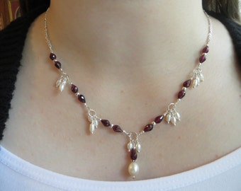 Garnet necklace, Freshwater pearl necklace, January birthstone, Sterling silver necklace, 30th anniversary necklace, June brithstone