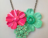 Repurposed vintage brooch necklace, floral statement, bib necklace, reclaimed vintage, enamel flower, hot pink fuchsia aqua mint green
