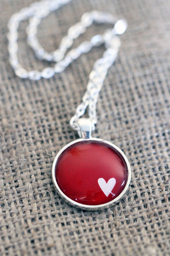 FREE SHIPPING White Heart on Ruby Red - silver or bronze pendant necklace