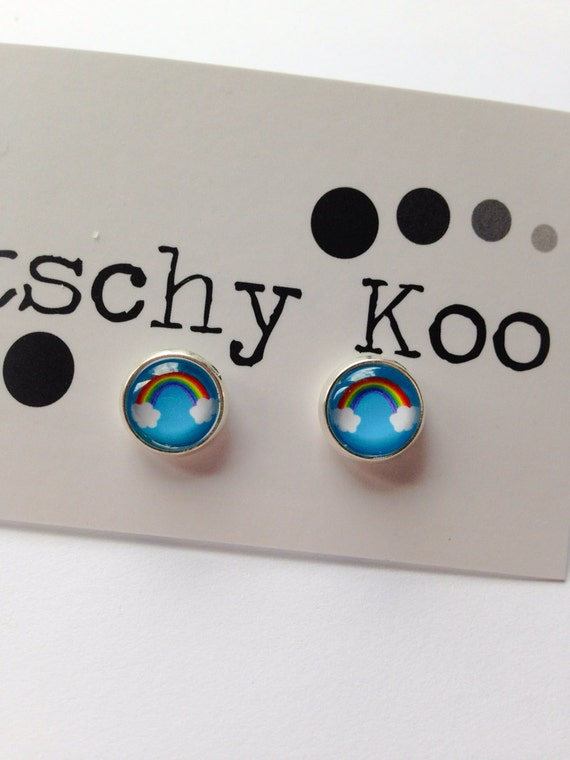 FREE SHIPPING - Blue Sky Rainbow Earrings - Surgical Steel - Rainbow Jewelry - Free Postage - Rainbow Earrings - Rainbow Studs
