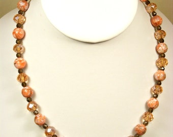 Smokey Quartz and Peach Necklace