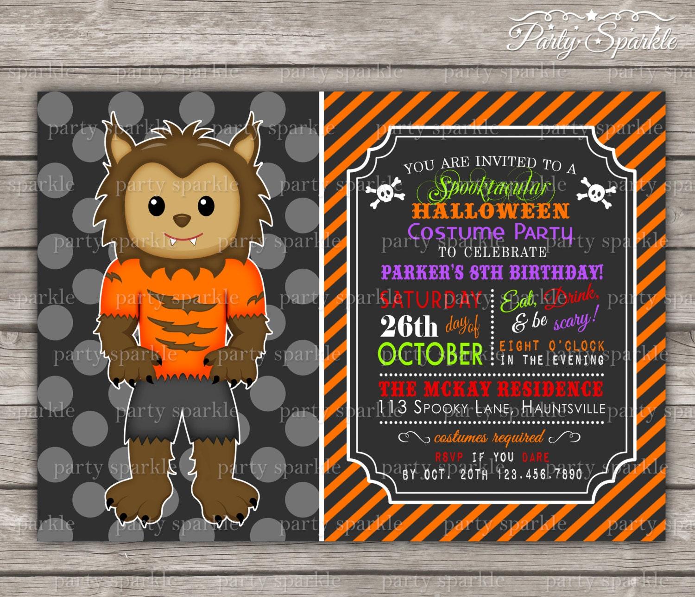 Halloween Party Costume Birthday Invite Werewolf