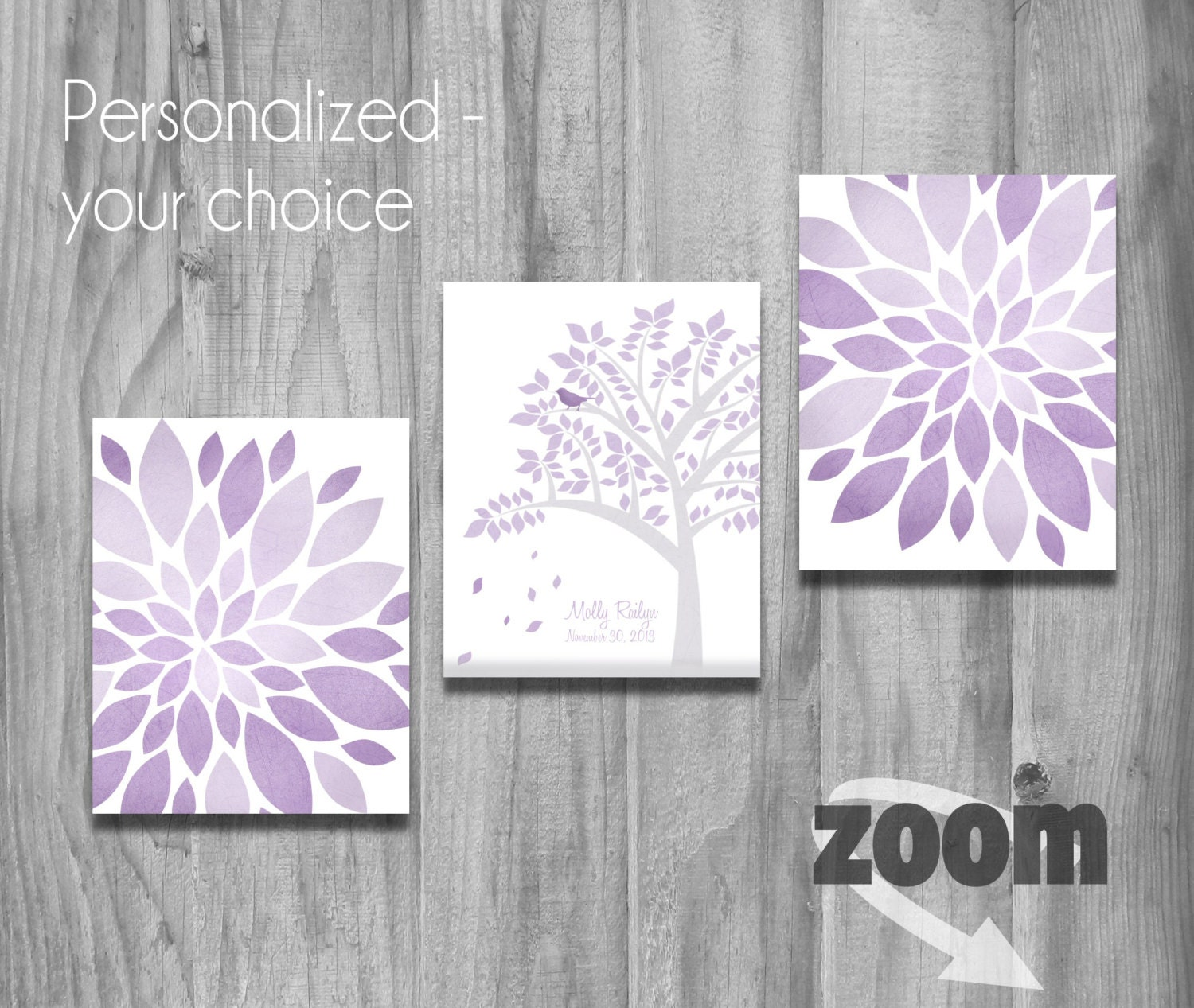 purple lavender gray girls nursery wall art set personalized. Black Bedroom Furniture Sets. Home Design Ideas