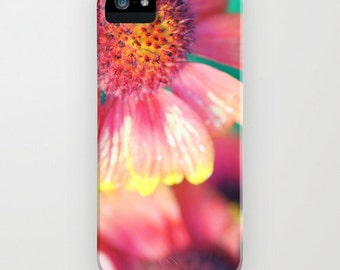 iPhone Case - 5 4 4s 3g 3gs - Samsung Galaxy S4 - Summer Beauty - photography floral summer  vintage flower blossom yellow pink turquoise