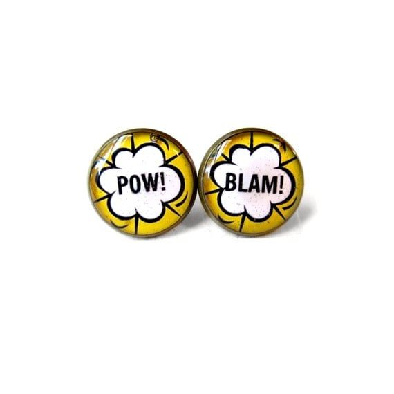 Comic Book Word Bubble Pop Art Stud Earrings - Funny Pop Culture Jewelry