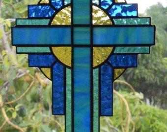 Stained Glass Cross Suncatcher, Blue/Green Opal  #109