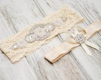Vintage Champagne Garter Set Ivory Lace Heirloom Rhinestone Pearl Spring Summer Weddings