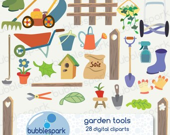 garden tools - digital clip art pack,  lawn mower, fench, flower pot, bird house, shovel, watering can and more tools