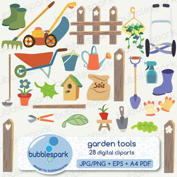 garden tools - digital clip art pack, lawn mower, fench, flower pot ...