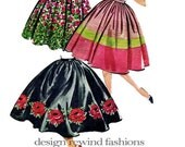 """1950s Rockabilly Pleated or Gathered Circle/Full Skirt For Plain or Bordered Fabrics - Waist 28"""" - McCalls 4935 VINTAGE Sewing Pattern"""