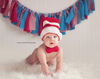 Baby Cat in the Hat Inspired Striped Hat with Bowtie Set - 0 to 3 Months, 3 to 6 Months, 6 to 12 Months - Red, White