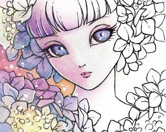 Digital Stamp - Hydrangea Sprite (Big Eye) - Doll Face Girl with Hydrangea - Fantasy Line Art for Cards & Crafts by Mitzi Sato-Wiuff