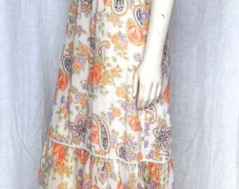 Vintage 70's Gauze Flowy Maxi Dress