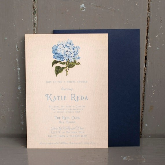 Rustic Bridal Shower Invite - The Hydrangea - bridal shower invitation, invitations, vintage, floral, bouquet, flowers, rustic, flowers