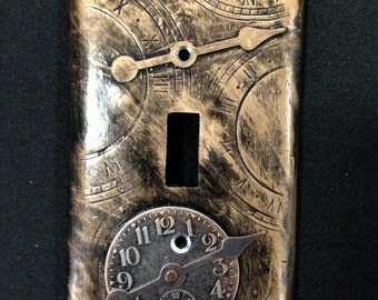 Steampunk Inspired Hands of Time Clay Light Switch Plate Cover