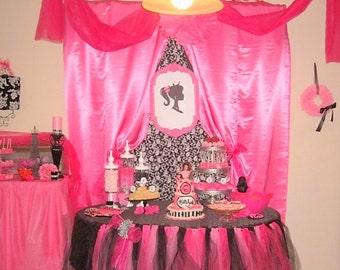 Pink black tulle skirting wedding shower girls for Sleeping beauty wedding table