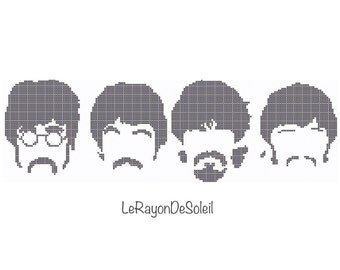 The Beatles cross stitch pattern 4 SMALL The Beatles silhouette - PDF Instant download.