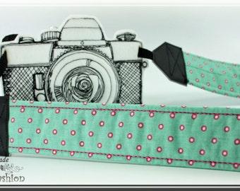 Camera strap, DSLR, turquoise dots, camerastrap