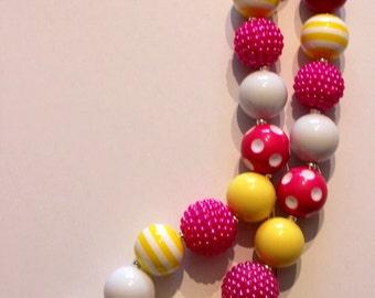 pink lemonade girls chunky bubblegum bead necklace lemon slice lemonade necklace girls necklace chunky necklace yellow, hot pink and white