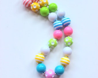 girls Easter chunky necklace bubblegum bead necklace green yellow aqua baby pink birthday necklace toddler Easter pastel baby girl Easter ne