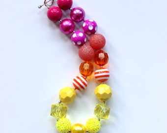 girls chunky bead necklace summer bubblegum bead necklace pink yellow orange birthday necklace toddler
