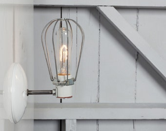 Industrial Wall Lamp - Wire Cage Wall Sconce Light