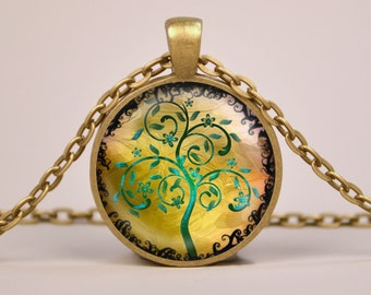 Tree of Life H6 Pendant Necklace or Keyring Glass Art Print Jewelry Charm Gifts for Her or Him Green Yellow