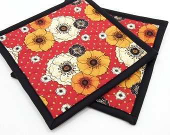 Fabric Hot Pads, Quilted Pot Holders - Red Orange and Black Poppies Floral Cotton Set of Two 8 Inch Potholders