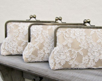 Lace bridesmaid clutch, set of 3, champagne bridesmaid clutch, personalized bridesmaids gift, custom clutch bag set, personalized gifts, uk