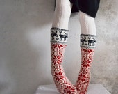 8.5 9  9.5 39 40 41 Handknit  thick  very warm women men long wool  socks scandinavian winter deers white red blue winter fashion europe
