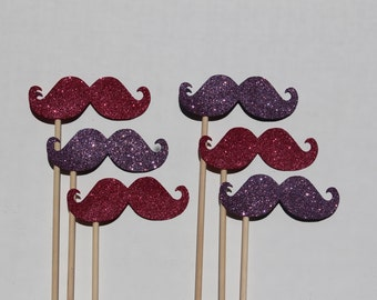Pink and Purple Glitter Moustaches on Sticks