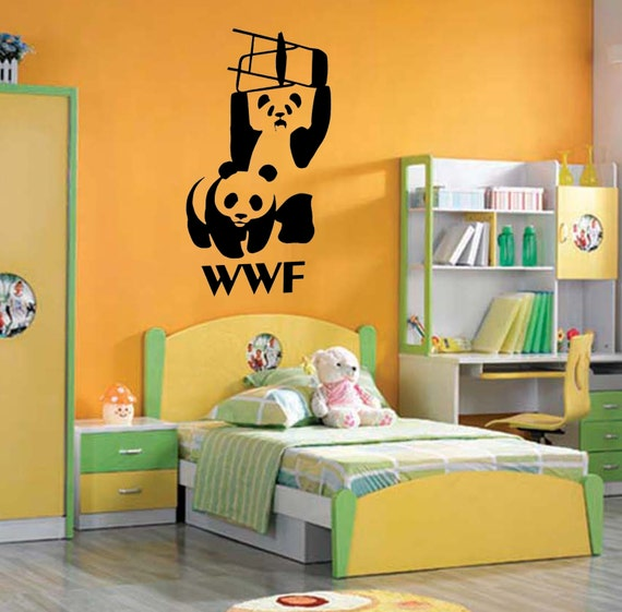 WWF Panda Chair Fighting Wall Art Sticker Animal by