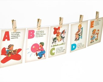 "Digital rhyming retro ABC flashcards / alphabet flash cards/ downloadable / printable / 5"" by 7"""
